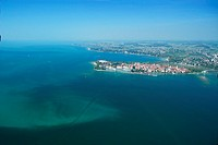 Aerial view from an airship dirigible Zeppelin NT of Lindau Insel and Constance lake (Bodensee), Bavaria, Germany