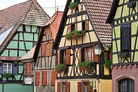 Colorful façades of timber framed houses at Dambach_la_Ville, Vosges, Alsace, France