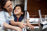 Mother and son washing hands (thumbnail)