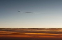 Contrail following jet plane