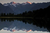 Mount Cook and Mount Tasman reflected in Lake Matheson
