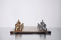 Gold and silver chess set