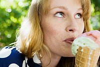 Woman eating ice cream (thumbnail)