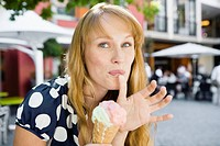 Woman eating ice cream