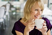 Woman drinking hot chocolate