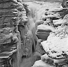 High angle view of a frozen waterfall, Athabasca Falls, Jasper National Park, Alberta, Canada