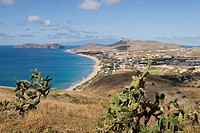 Vila Baleira and Porto Santo Beach seen from Portela, Porto Santo, near Madeira, Portugal