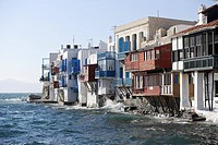 Houses on the waterfront in the sunlight, Little Venice, Mykonos Town, Greece, Europe