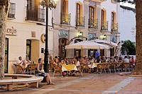 Hotel and bar at main square, Nerja, Andalusia, Spain