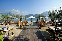 Beach cafe at Lake Como, Tremezzo, Lombardy, Italy