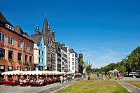 Pavement cafes in old town, Cologne, North Rhine_Westphalia, Germany