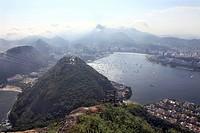 View from the Sugarloaf Mountain towards Rio de Janeiro, Guanabara Bay, Botafogo, Corcovado, Brazil