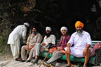 Sikh pilgrims resting on their way to holy Hemkund lake, Garhwal Himalaya, Uttarakhand, India, Asia
