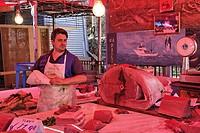 Fishmonger, Bollaro market, Palermo, Sicily, Italy