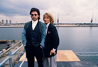 Jean Michel Jarre and Charlotte Rampling in the Isle of Dogs docklands in London