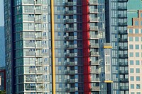Detail of apartment buildings on the north side of False Creek, Vancouver, British Columbia, Canada