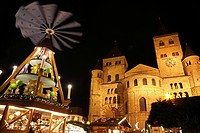 Dome and Christmas pyramid at night, Trier, Germany