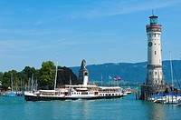 Harbour with Mangenturm, Lake Constance, Lindau, Bavaria, Germany, Europe