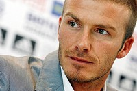 David Beckham of England attends his last news conference as Real Madrid´s player in Madrid