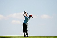 Shaun Webster of England watches his second shot on the 9th hole during the Open de Madrid golf tournament in San Sebastian de los Reyes, on the outsk...