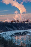 Oil refinery and North Saskatchewan River, Edmonton, Alberta, Canada.