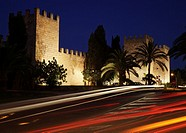 Walls of Alcudia by night, Majorca, Spain