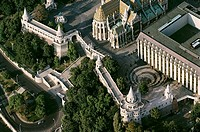 aerial views of Hungary´s cultural heritage: Budapest, capital of H  Fishermen´s Bastion was built l895-1902 on castle Hill where the medieval fish ma...