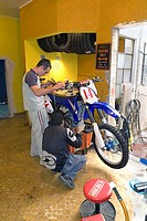 repairing motorbike