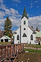 This white classic turn of the century church was built in 1917 and is located in Havillah Washington in Okanogan County It's shot during the day with...