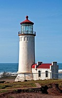 This is the North Head lighthouse off the Pacific ocean in Washington state in Pacific County, with a bright clear blue sky Beautiful lantern room is ...