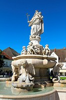 Baroque Madonna fountain at chapel square in Altoetting, Bavaria, Germany