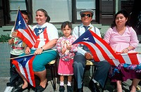 A Puerto Rican family with their national flag, Wilmington, DE
