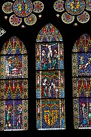 colored stained_glass windows at the Freiburg Cathedral in Germany
