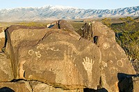 Three Rivers Petroglyph National Site, a BLM Bureau of Land Management Site, features an image of a hand, one of more than 21,000 Native American Indi...