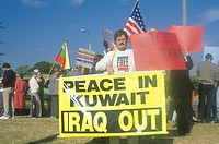 American protesting U.S. involvement in Kuwait, Los Angeles, California