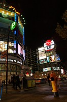 Night lights in Toronto at Dundas Square and Eaton Center