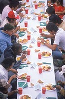 Homeless eating Christmas dinners, Los Angeles, California