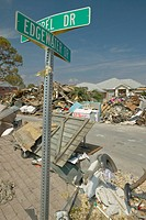 Edgewater St. sign on street where Hurricane Ivan in Pensacola Florida hit