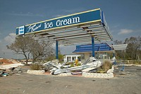 Destroyed ice cream stand in Pensacola Florida hit hard by Hurricane Ivan