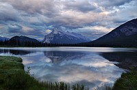 Evening clouds on Vermilion Lakes with Mount Rundle