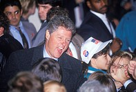 Governor Bill Clinton works the crowd at a Michigan campaign rally in 1992 on his final day of campaigning in Detroit, Michigan