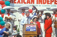 Governor Bill Clinton and U.S. Senate Candidate Diane Feinstein at a Mexican Independence Day celebration in 1992 at Baldwin Park, Los Angeles, Califo...