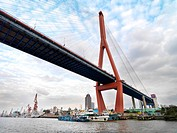 The Yangpu Bridge seen from the Huangpu River in Shanghai, China.