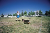 Dog and man practicing at Canine Frisbee Contest, Westwood, Los Angeles, CA