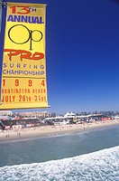 Sponsors signs on Huntington Beach, CA, Pro Surfing event