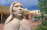 Detail of Sculpture of Indian Woman in Santa Fe, NM