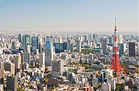Cityscape with Tokyo Tower, Akasaka, Shiodome