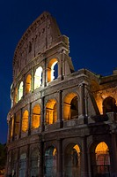 The Colosseum or Roman Coliseum at dusk, originally the Flavian Amphitheatre, an elliptical amphitheatre in the centre of the city of Rome, the larges...