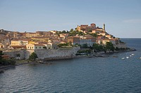 Water view of Portoferraio, Province of Livorno, on the island of Elba in the Tuscan Archipelago of Italy, Europe, where Napoleon Bonaparte was exiled...