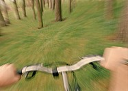 Person riding bike in forest